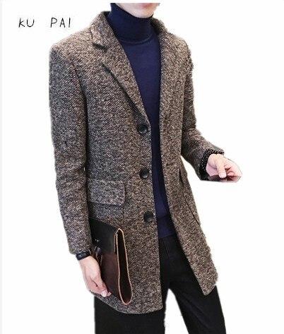 2017 прилив мужской пальто мужчины в длинный участок это пальто диких небольшой свежий ткань стиль ветровка мода Slim плащ