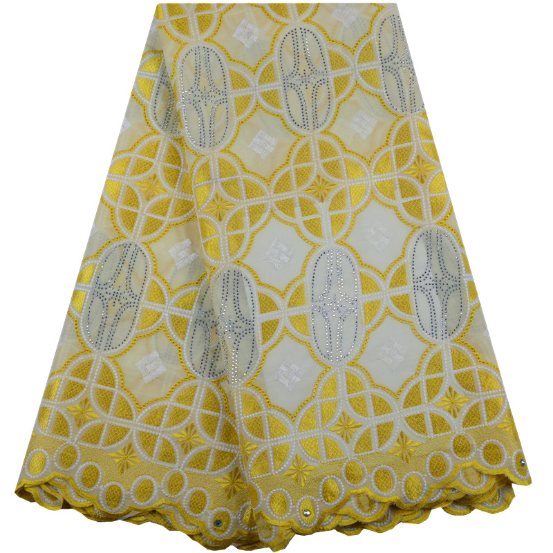 Latest Nigeria Cotton Lace 2019 High Quality Swiss Voile Lace In Switzerland Yellow African Dry Lace