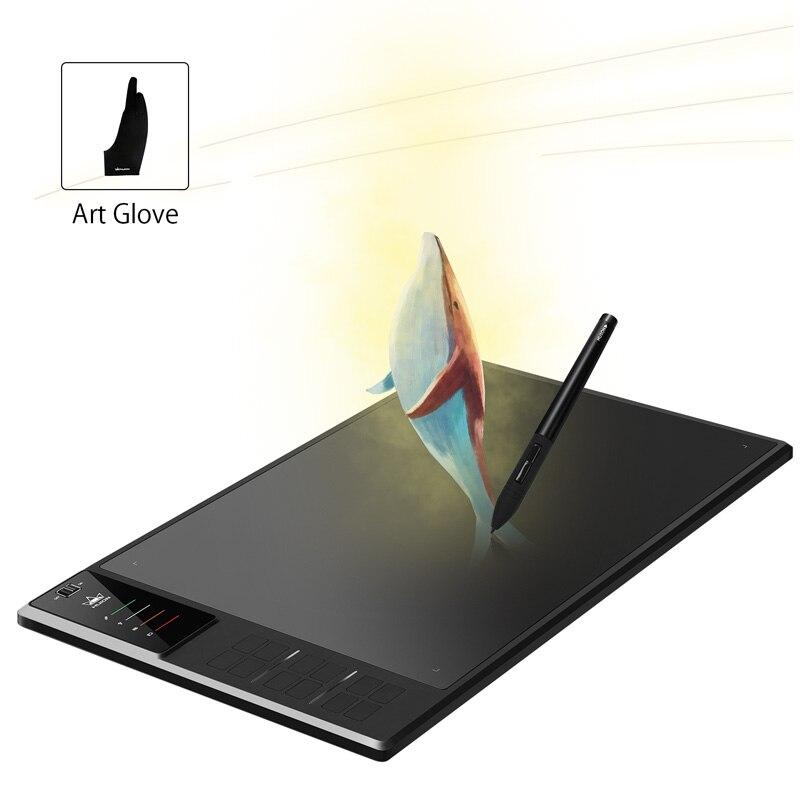 HUION Giano WH1409 14 pulgadas Digital inalámbrica de tabletas con 8192 niveles de presión gráficos del dibujo de la pluma de la tableta y regalo guante