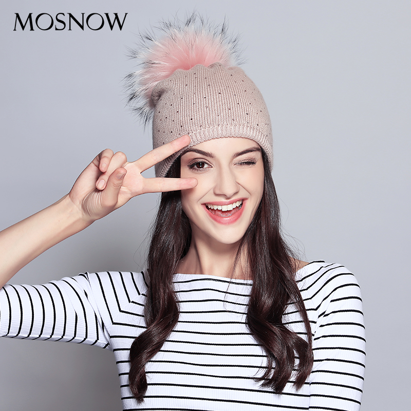 Wool Beanie For Women 2019 New Casual Hat Raccoon Fur Pompom With Rhinestone Cap Winter Knitted Ladies Hat Skullies Beanies