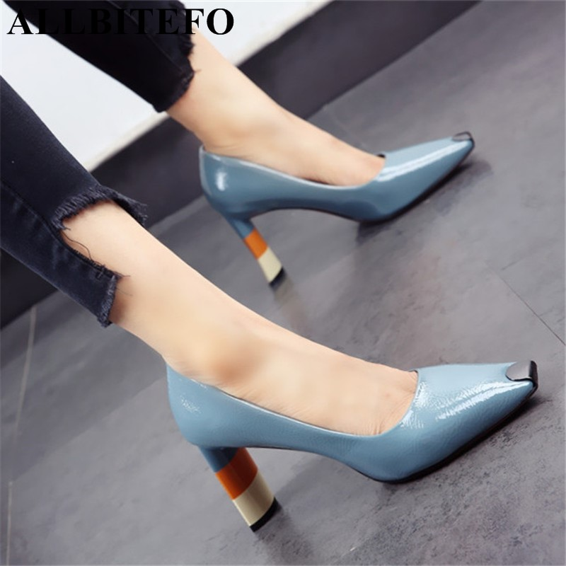 ALLBITEFO Colored heel fashion women high heel shoes metal square toe girls party wedding shoes spring