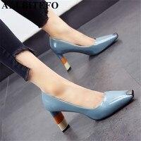 ALLBITEFO Colored heel fashion women high heel shoes metal square toe girls party wedding shoes spring women pumps high heels