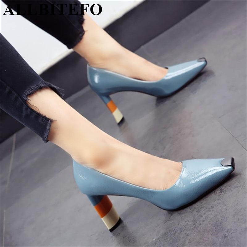 ALLBITEFO Colored heel fashion women high heel shoes metal s