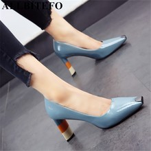 ALLBITEFO Colored heel fashion women high heel shoes metal square toe