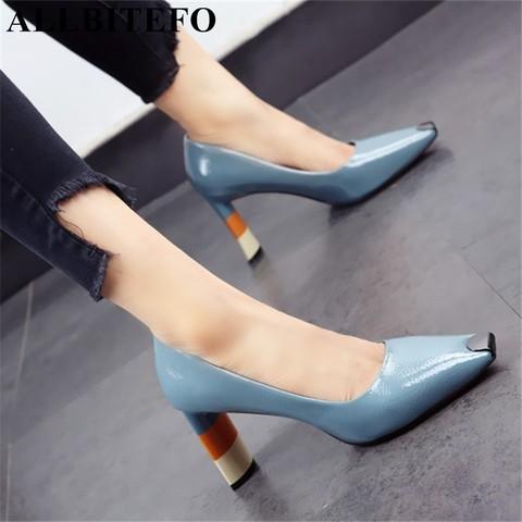 ALLBITEFO Colored heel fashion women high heel shoes metal square toe girls party wedding shoes spring women pumps high heels Pakistan