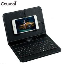 Cewaal tablet PC case Leather Flip Case Wired Keyboard Holster 4 Colors Durable Universal Protector for Andriod Phones