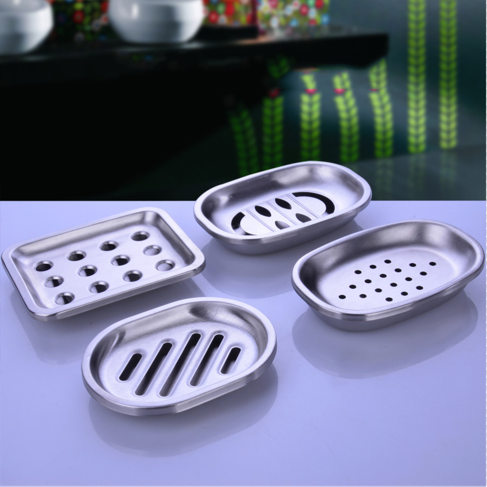 Luxury european fashion resin bathroom products accessories set high - Creative Stainless Steel Double Layer Soap Box Draining Large European Fashion Handmade Soap Dishes Box Bathroom