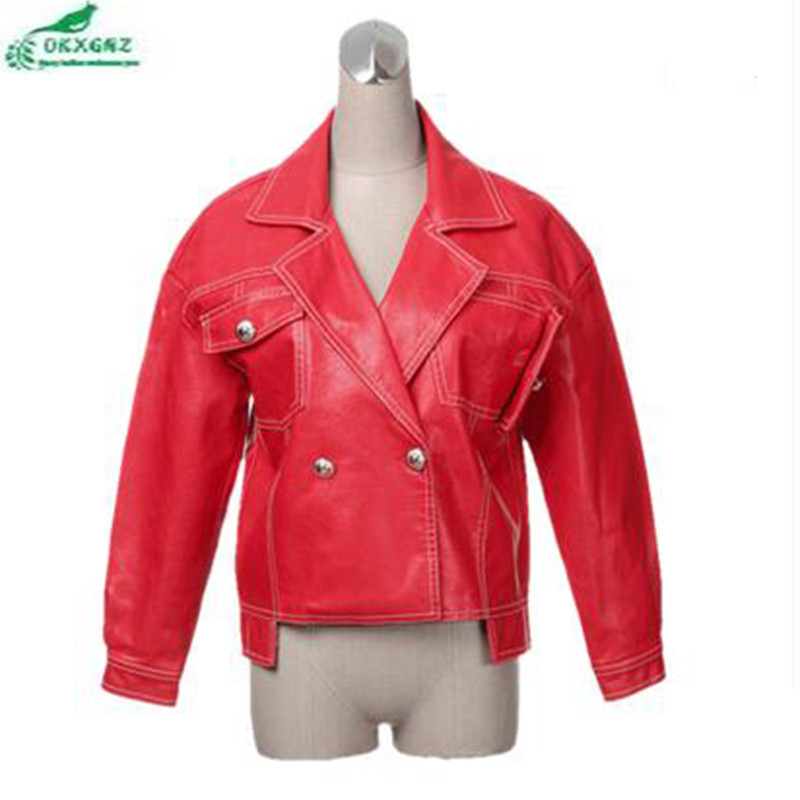 Okxgnz Survêtement Courte Automne Red Manteau Femme Mode Pu Nouveau Casual Printemps En black Taille Cuir Veste Coréenne De Grande Af142 Femelle gxwBEPTx