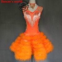 Feather Fringes Skirt Women V Collar Style Back Opening Latin Tango Ballroom Salsa Dance Dress Party Costume Tassel women Dress