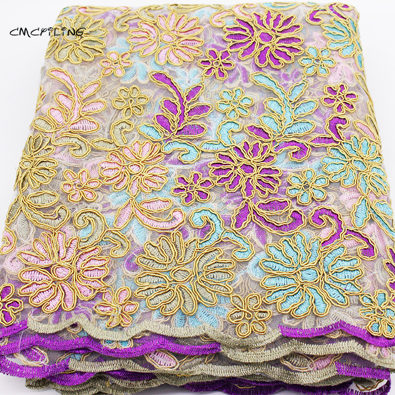 Embroidered gauze fabric for wedding dress