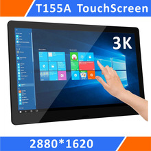 15.5 Zoll 3K دقة شاشة تعمل باللمس رقيقة جدا مع UBS و HDMI و DP وحامل قوي لأجهزة الكمبيوتر المحمول ويندوز كمبيوتر صغير (T155A)
