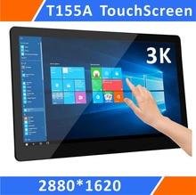 Zoll Monitor de pantalla táctil ultrafino con resolución 3K, 15,5, UBS, HDMI y DP, soporte resistente para ordenador portátil y Mini PC Windows (T155A)