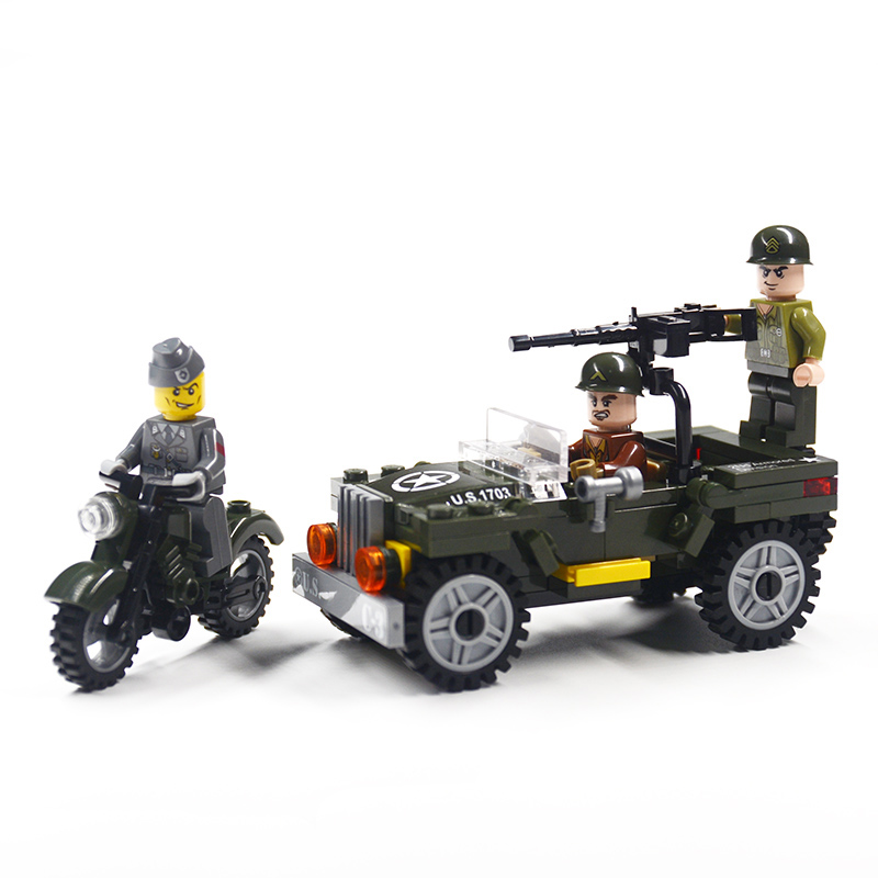 все цены на Military Weapon Building Blocks Brick Series City Jeep Weapon Guns MOC Model Compatible Legoing DIY Toy For Kids