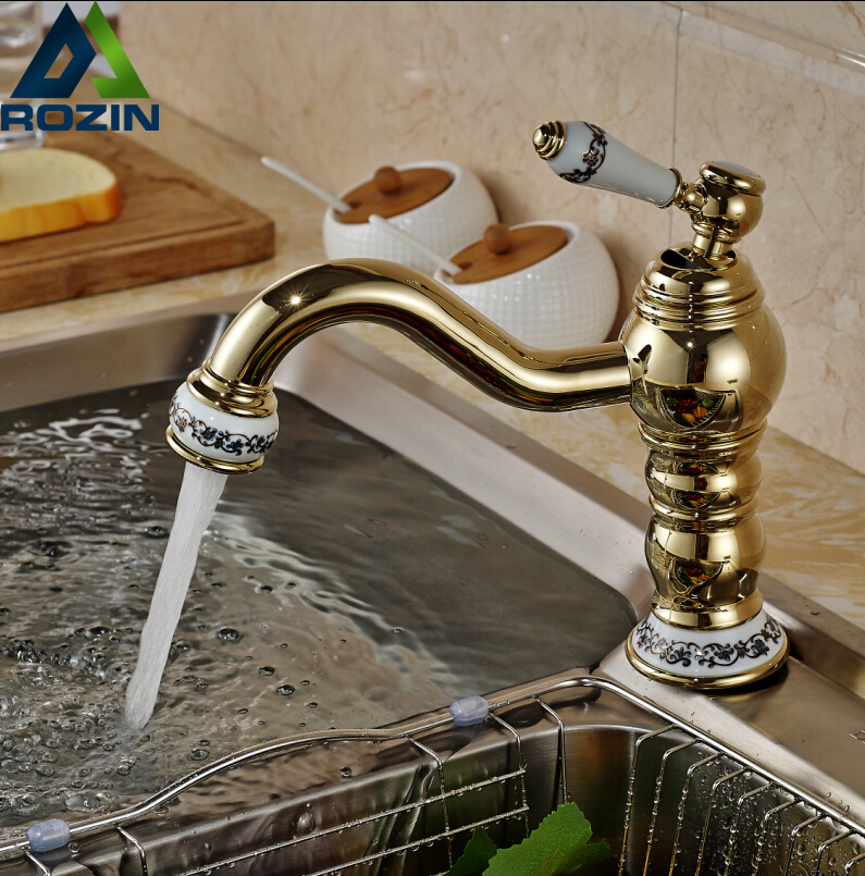 Modern Ceramic Handle Kitchen Sink Faucet 360 Rotatable Single Lever Washing Basin Mixer Taps Deck Mounted