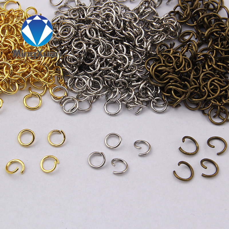 3colors 4~10mm Bronze/Silver/Rhodium Open Jump Rings Connectors for DIY Jewelry Findings & Components 200pcs