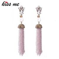 KISS ME Pink Beads Tassel Long Earrings Drop Earrings For Women 2017 New Fashion Jewelry Party
