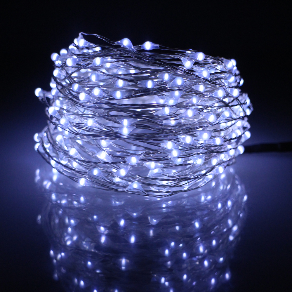 49Ft 15m 300LED Silver Wires Led Fairy Lights Decoration Party Chrismas  Halloween String Lights 12V1A Adapter(EU,UK,US,AU Plug)