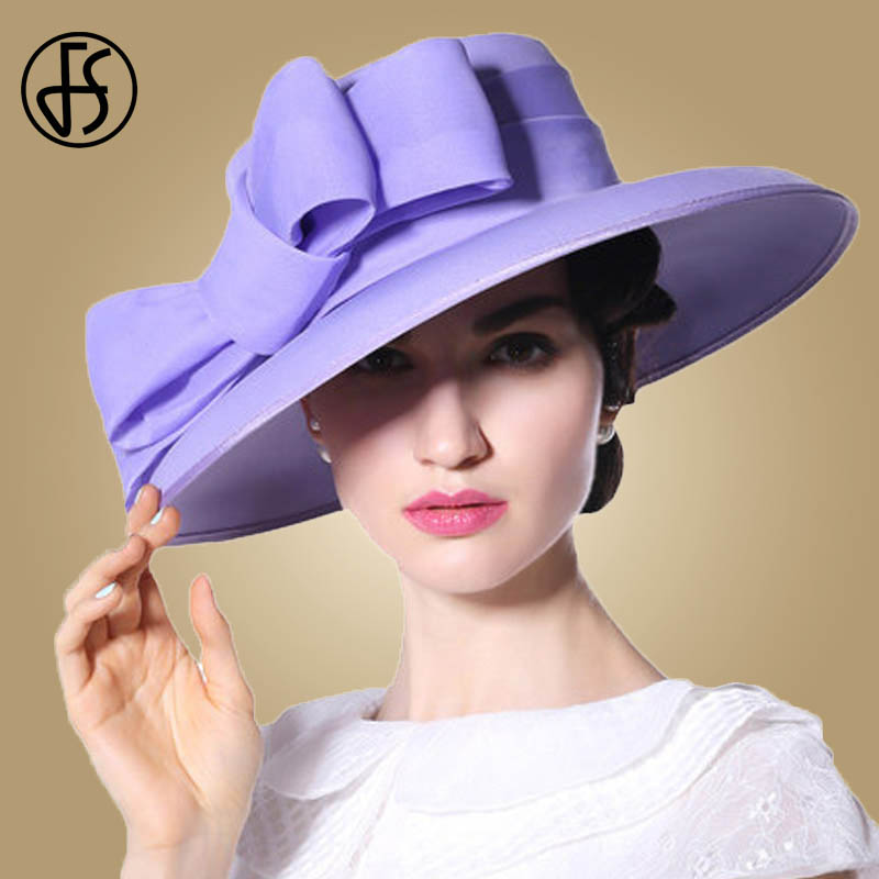 FS Royal Wedding Hats For Ladies Purple Large Bowknot Brim Fedora Flat Top Church Party Women