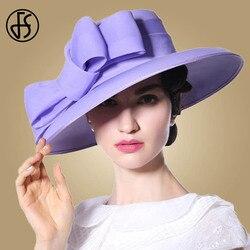 FS Royal Purple Cappelli Da Sposa Per Le Donne Big Bowknot Tesa Larga Fedora Flat Top Chiesa Cappelli Delle Signore Del Partito Kentucky Derby cappello