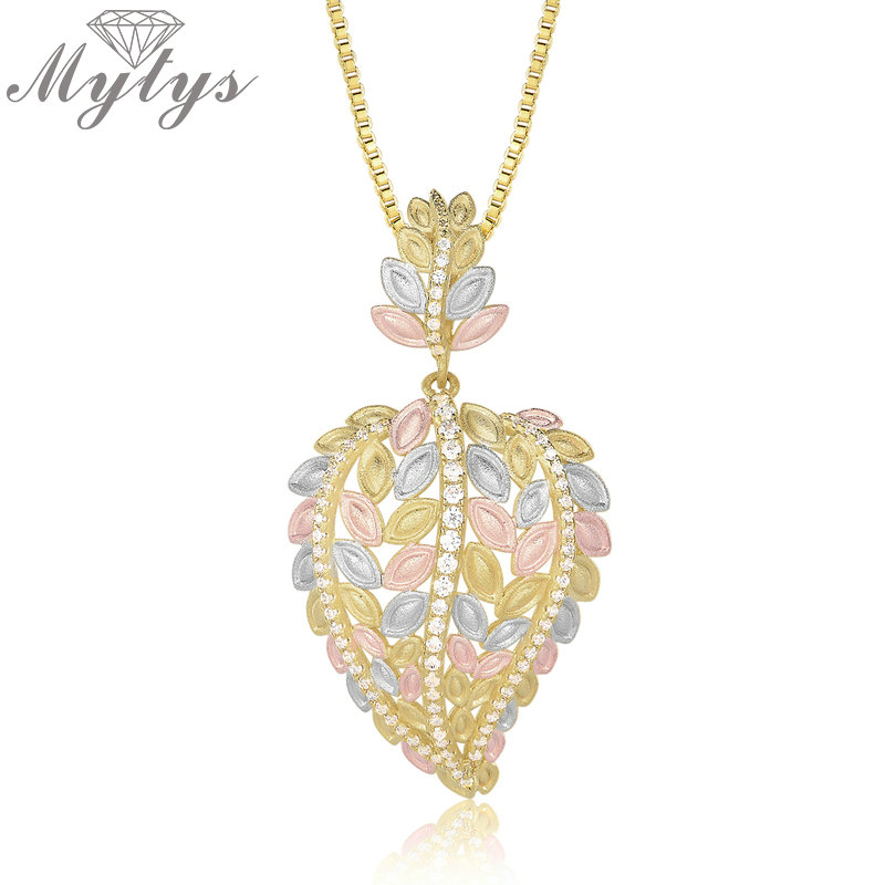 Mytys brand Hollow Leaf Pendant Necklace Tri-colored Polished Gold Three Gold Yellow Silver Rose Gold Gorgeous Women Jewel CN401