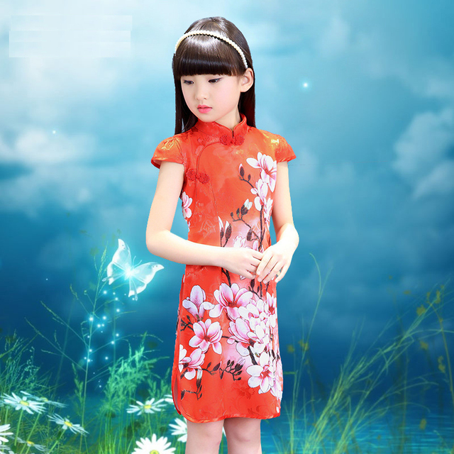 253812f9e3436 AD Chinese Style Girls Cheongsam Teens Kids Summer Dress Classical Chinese  Chipao Children s Clothing