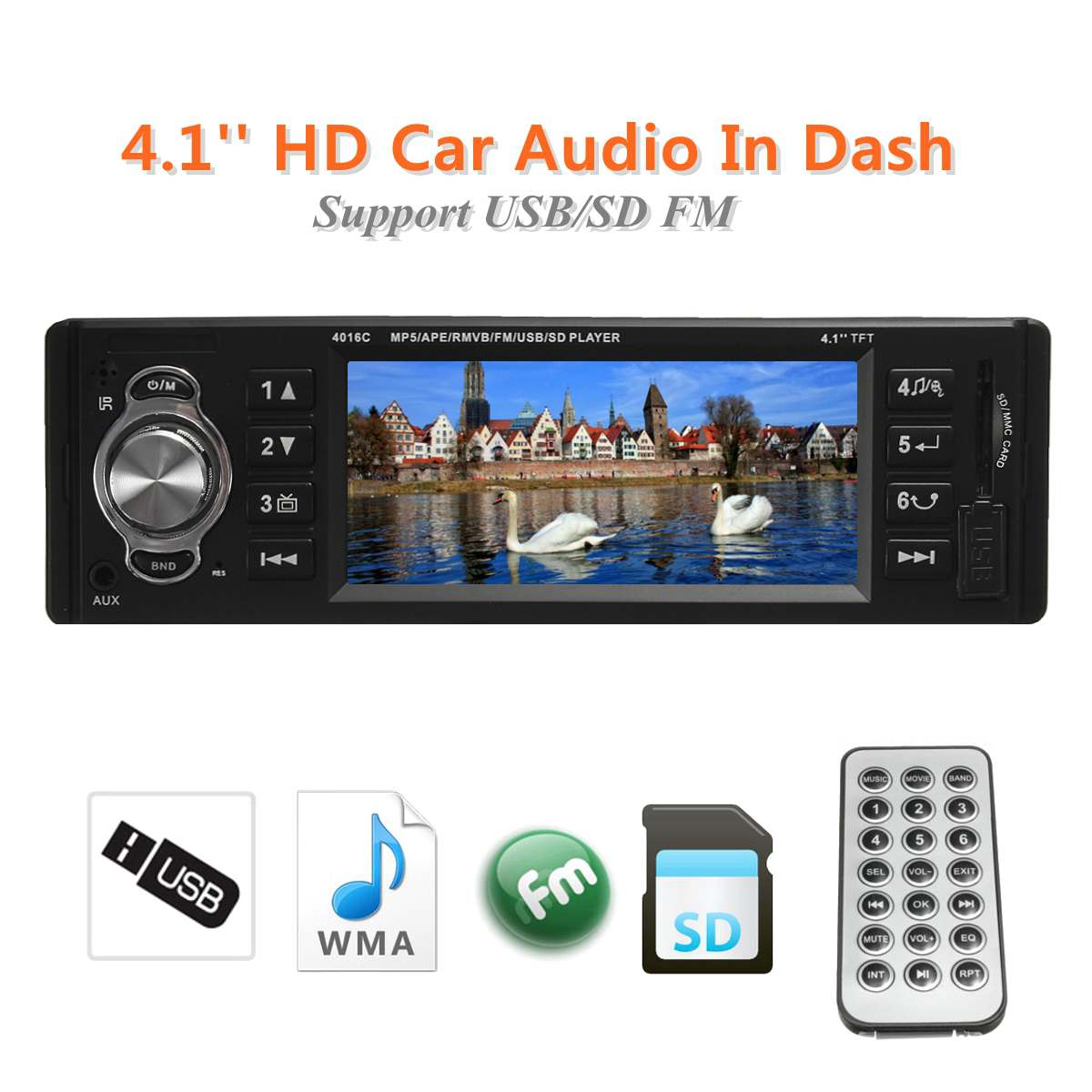 4016C 1Din Autoradio 4.1 pouces bluetooth 1 Din Auto Audio stéréo lecteur FM Autoradio Support fichier Navigation arrière caméra fonction