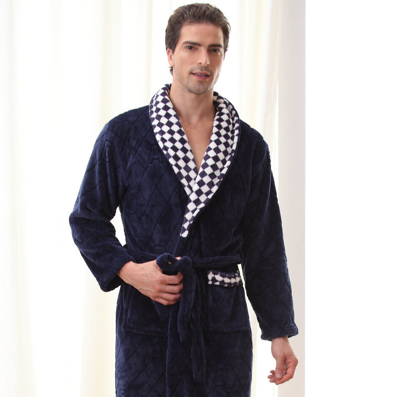 QWEEK Men Sleepwear Robe Winter Flannel Couples Plaid Terry Robe Male Thick Kimono Warm Bathrobe Home Wear Peignoir Men Robe