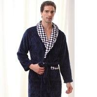 QWEEK Men Sleepwear Robe Winter Flannel Couples Plaid Terry Robe Male Thick Kimono Warm Bathrobe Home Wear Peignoir Men Robe