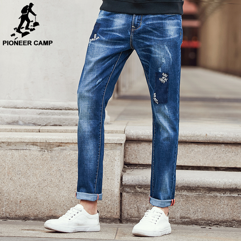 Pioneer Camp ripped Jeans men brand clothing high quality male jeans fashion casual mens denim pants trouser for men 611043 Men Men's Bottoms Men's Clothings Men's Jeans cb5feb1b7314637725a2e7: Blue