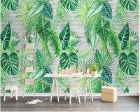 Beibehang Custom Fashion Classic Wallpaper Nordic Simple Tropical Plant Turtle Leaf Background Papel De Parede 3d