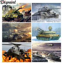 Dispaint Full Square/Round Drill 5D DIY Diamond Painting Tank plane scenery 3D Embroidery Cross Stitch 5D Home Decor Gift фонарь fenix e16 cree xp l hi