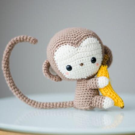 Monkey Haak Gehaakte pop rammelaar Amigurumi