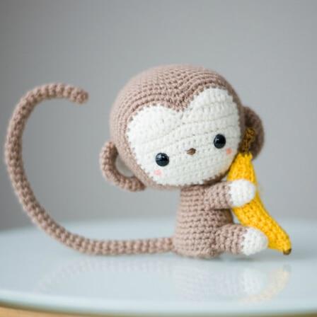 Monkey Crochet Crochet Doll  Rattle Amigurumi