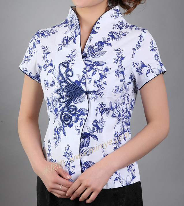 Новое поступление синий Винтаж китайский Для женщин хлопковая рубашка с v-образным вырезом Топ Рубашка с короткими рукавами цветок Размеры S M L XL XXL XXXL Mny-000B - Цвет: Синий