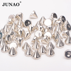 JUNAO 8mm 10mm Silver Gold Color Studs Spikes Plastic Decorative Rivet Punk Rivets For Leather Clothes Jewelry Making Crafts