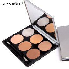 Miss rose brand pro concealer contour palette 6 colors foundation make up base maquiagem makeup set with brush