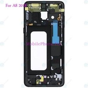 Image 1 - LCD Front Frame Midden Behuizing Bezel Chassis Voor Samsung Galaxy A8 2018 A530 Terug Faceplate Met Zijknoppen Onderdelen