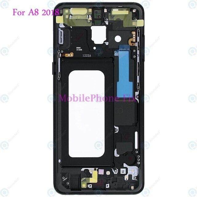 LCD Front Frame Midden Behuizing Bezel Chassis Voor Samsung Galaxy A8 2018 A530 Terug Faceplate Met Zijknoppen Onderdelen