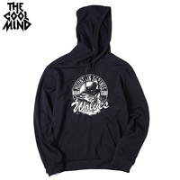 THE COOLMIND loose street style cotton blend fleece men hoodies autumn long sleeve wolf printed men sweatshirts