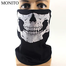 2019 Hot Motorcycle Face Mask Halloween Man/Woman Bicycle Ski Skull Half Face Mask Ghost Scarf Multi Use Sunscreen Neck Warmer(China)