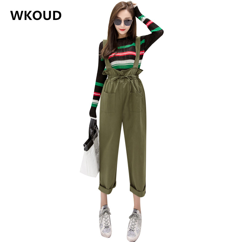 WKOUD High Waist   Wide     Leg     Pants   Solid Casual Bib   Pants   For Women Drawstring Waist Pockets Trousers Students Casual Wear P8462