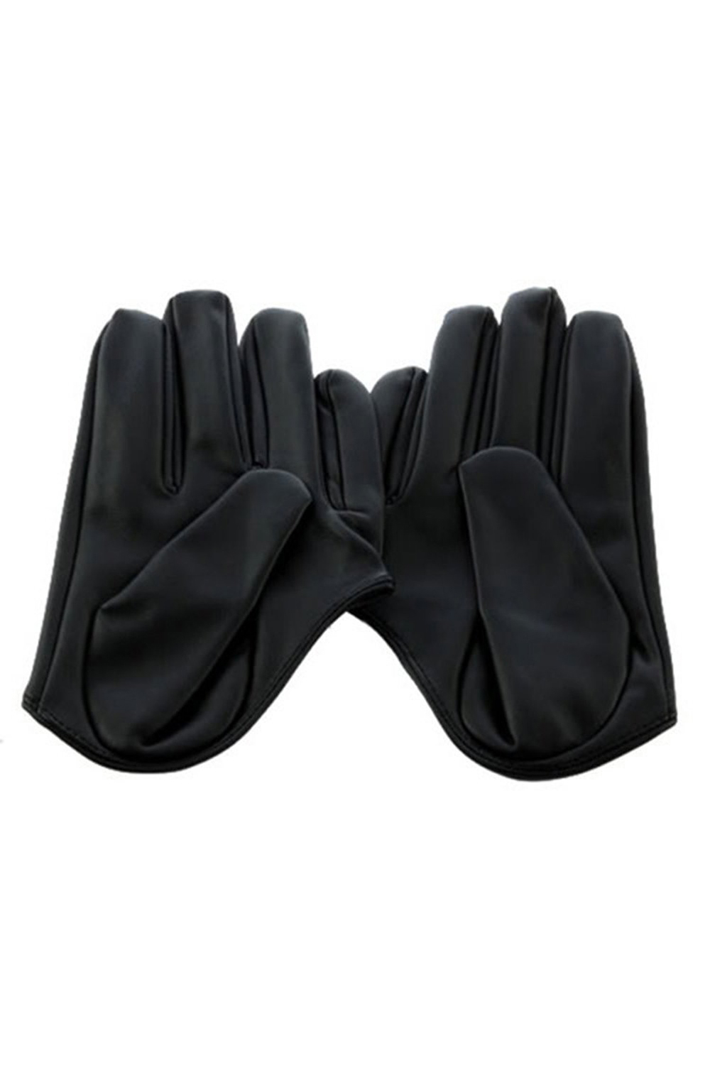 Black gloves online - Women S Faux Leather Five Finger Half Palm Gloves Black China Mainland