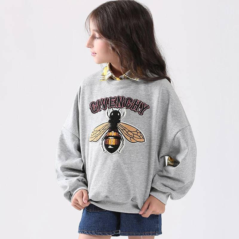Teen Girls Clothing Set for 6-15Y 2018 New 2Pcs Embroidery Sweatshirts + Plaid Blouse Girls Cotton School Clothing Sets 2pcs set cotton girls clothing set 2018