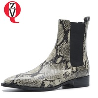 ZVQ high quality genuine leather plush booties hot sale fashion sexy pointed toe snakeskin pattern winter big size women shoes