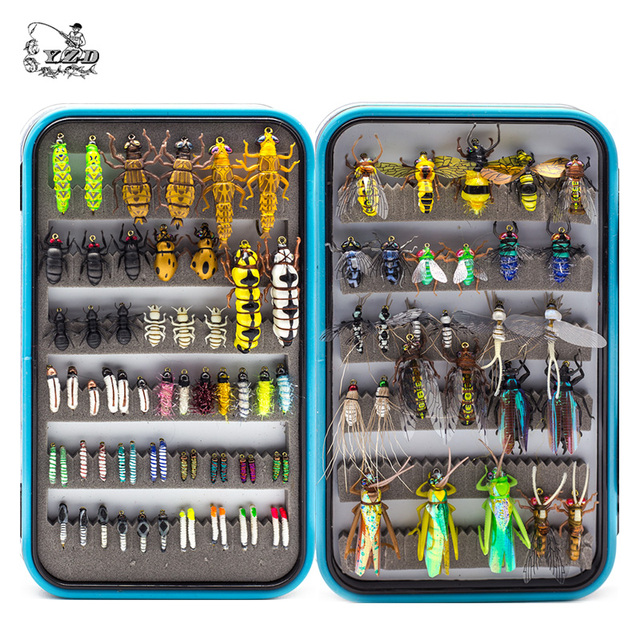 YAZHIDA nuovo 90pcs wet dry fly fishing set ninfa streamer poper vola legatura materiale kit di richiamo di pesca scatola di attrezzatura per le carpe trota
