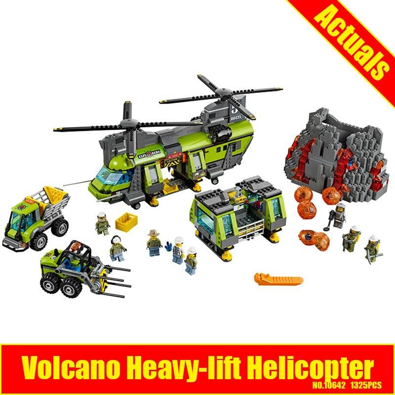 Bevle 10642 Bela City Series Volcano Heavy-lift Helicopter Explorer scientist Building Block Bricks Toys Gift For Children 60125 bevle store bela 10539 341pcs friends series heart lake city hair salon building blocks bricks for children toys lpin 41093