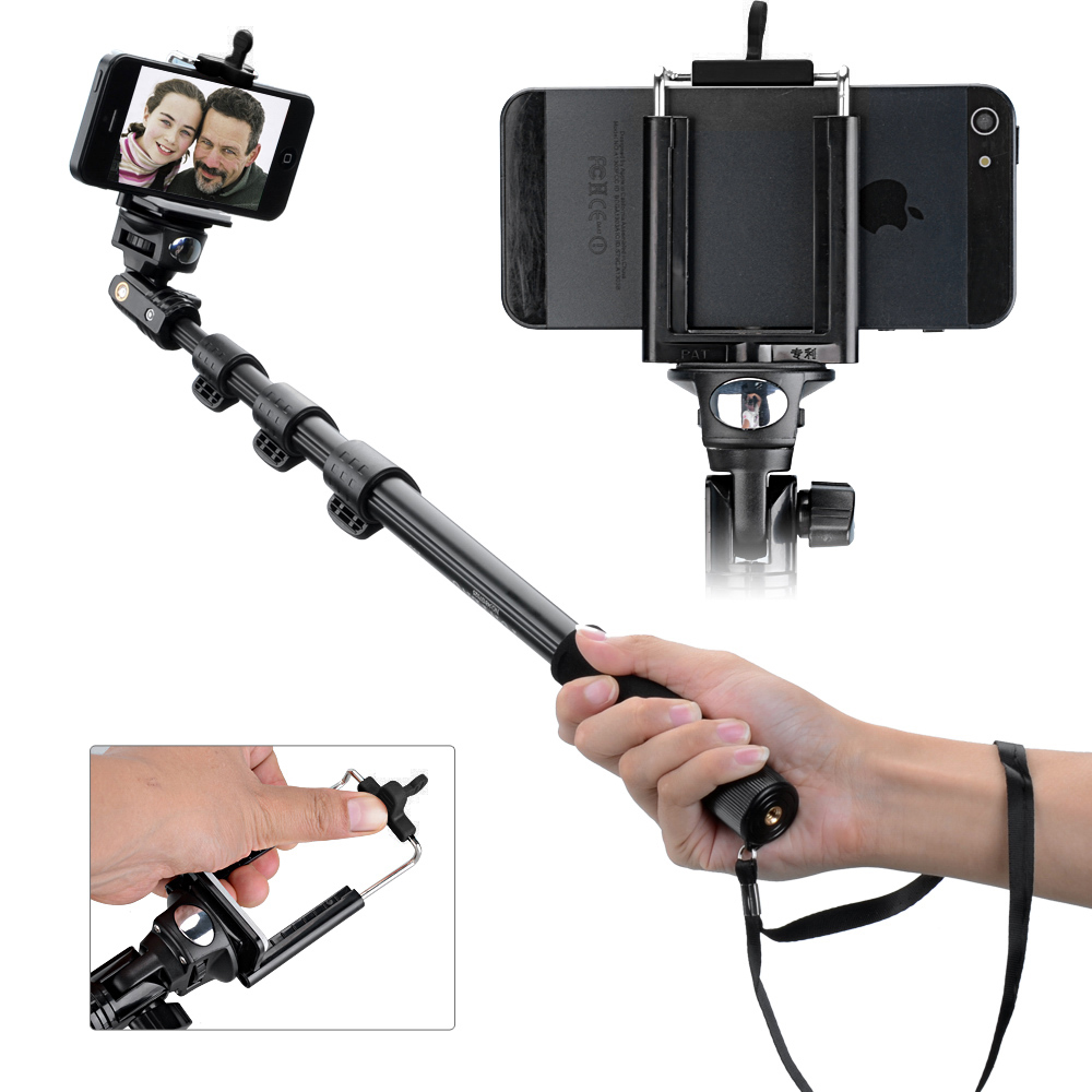 4// Camera//Cellphone 126cm with Phone Adapter Extendable Handheld Selfie Stick Monopod for Gopro 1 2 3 3