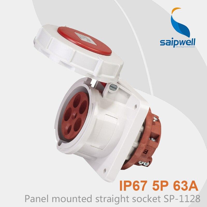 Saipwell Hot Sale IP67 Industrial Waterproof Outdoor Socket 5P 63A SP-1128 63a 3pin 220 240v industrial waterproof concealed appliance plug waterproof grade ip67 sf 633