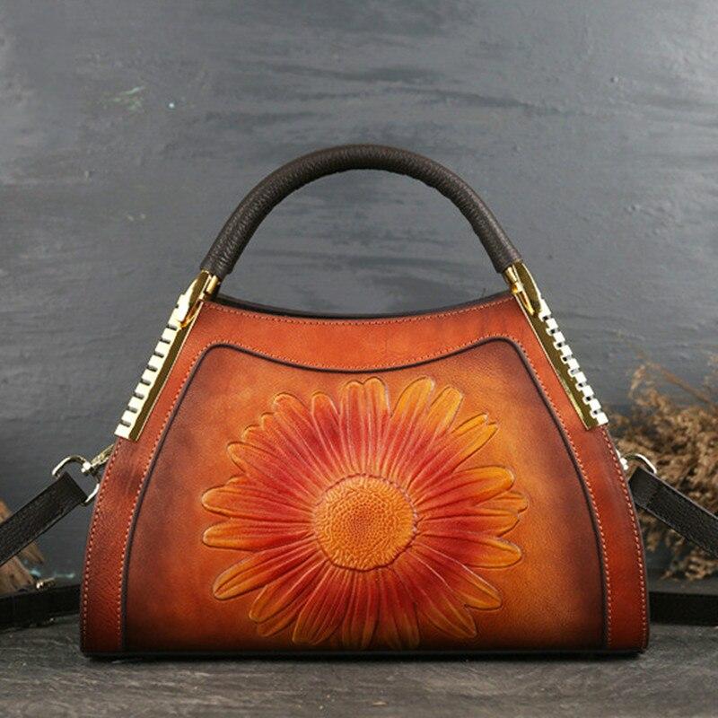 Bagaj ve Çantalar'ten Üstten Saplı Çanta'de 2019 Yeni Lüks Kadın Hakiki deri çantalar Bayanlar Retro Zarif Omuz askılı çanta Inek Deri El Yapımı Bayan Çanta'da  Grup 1