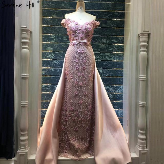 ורוד ללא שרוולים כבוי כתף יוקרה ערב שמלות 2020 בעבודת יד פרחי פניני סקסי ערב שמלות תמונה אמיתית LA60715